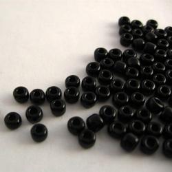 Zwarte glaskralen, 4 mm, 100 st.