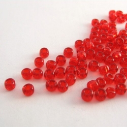 Red glass beads, 4 mm, 100 pc.