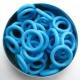 Felblauw rubber, 2.5x10.0 mm (15x10x2.5 mm) - 100 stuks