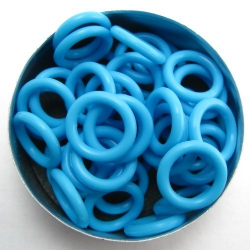 Neon blue rubber, 2.5x10.0 mm (15x10x2.5 mm) - 100 rings