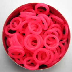 Neon pink rubber, 2.0x8.0 mm (12x8x2 mm) - 100 rings