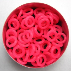 Neon pink rubber, 2.0x6.0 mm (10x6x2 mm) - 100 rings