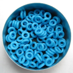 Neon blue rubber, 2.0x3.0 mm (7x3x2 mm) - 100 rings