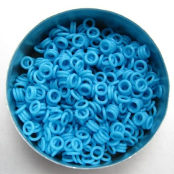 Neon blue rubber, 1.0x3.0 mm (5x3x1 mm) - 500 rings
