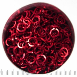 Red aluminium, 1.2x5.0 mm, square wire, 100 rings