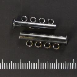 Slide clasp four strand, gunmetal