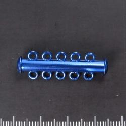 Slide clasp five strand, blue