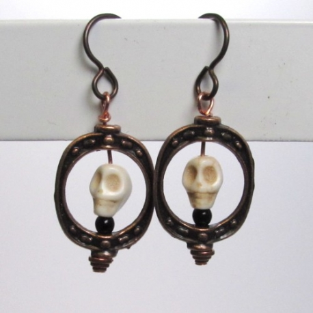 Coppertone earhooks with skull detail