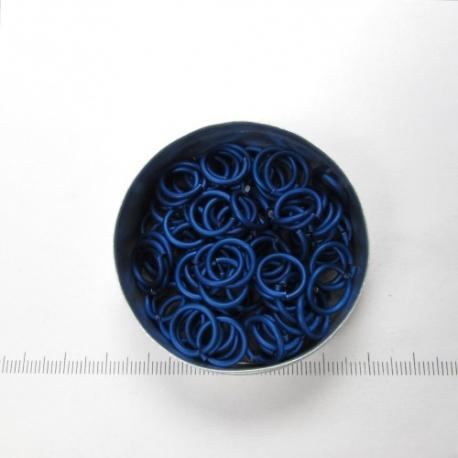 Mat diepblauw aluminium, 1,6x8,2 mm, 100 gezaagde ringen