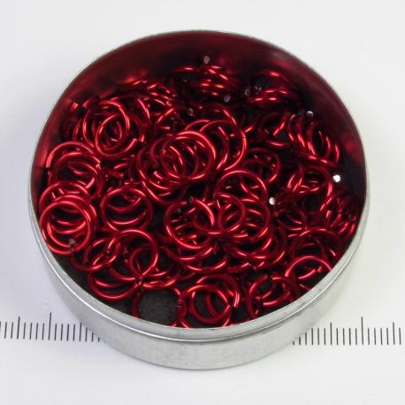 Glanzend rood aluminium 1.2x6.6 mm, 100 gezaagde ringen